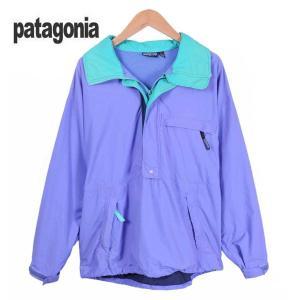 【SALE】90年代初期 / patagonia パタゴニア / アウトドアハーフジップナイロンジャケット プルオーバージャケット / 薄スミレ×エメラルドグリーン / メンズL penguintripper2