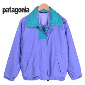 【SALE】ヴィンテージ 80's後半〜90's前半 Rマーク / patagonia パタゴニア / 中綿 アウトドアジャケット / ラベンダー×エメラルドグリーン / レディースL相当 penguintripper2