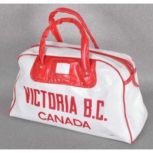 【SALE】ヴィンテージ 1970年代 / CANADA VICTORIA B.C. カナダ ブリティッシュコロンビア州 スーベニア / スポーツバッグ ボストンバッグ / ホワイト×レッド|penguintripper2