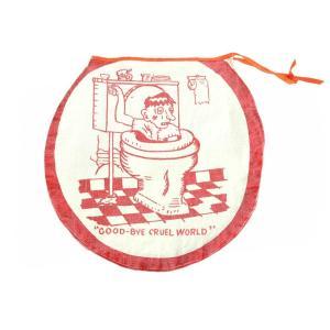 デッドストック / ヴィンテージ 1960年代 / トイレットカバー / オフホワイト×レッド キャンバス / USED扱い|penguintripper2