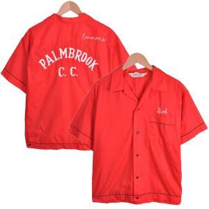 ヴィンテージ 1960年代 USA製 / Hilton ヒルトン / ボウリングシャツ / チェーンステッチ 刺繍入り / レッド / メンズL相当|penguintripper2