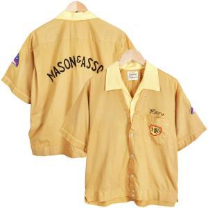 60年代 / OLYMPIAN オリンピアン / 重ね着風 ボウリングシャツ / ワッペン付 チェーンステッチ 刺繍 / ライトオーカー×ライトイエロー / メンズL|penguintripper2