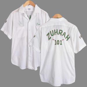 ヴィンテージ 1960年代 USA製 / ARROW アロー / ボウリングシャツ / チェーンステッチ 刺繍入り / ホワイト / メンズL相当|penguintripper2