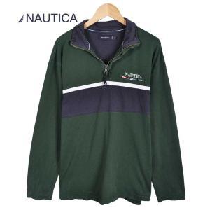ヴィンテージ 1990年代 NAUTICA ノーティカ ハーフジップカットソー ダークグリーン×ネイビー メンズL|penguintripper2