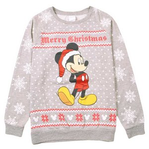 Disney ディズニー ミッキーマウス 薄手 スウェット 霜降りグレー×ノルディック柄×雪柄 レディースXL相当|penguintripper2