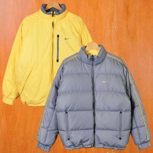 NIKE ナイキ リバーシブル ダウンジャケット グレー×ライトイエロー メンズM|penguintripper2