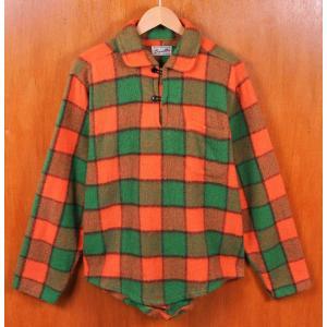 ヴィンテージ 60年代 スコッツ プルオーバー ウールシャツ オレンジ×グリーンチェック柄 L相当(118 penguintripper