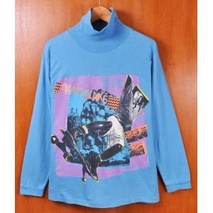 ヴィンテージ 1989年 USA製 STS オールドスケート ハイネック 長袖Tシャツ ロングスリーブTシャツ ロンT 水色 メンズM penguintripper