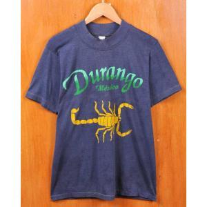 ヴィンテージ 70年代 メキシコ ドゥランゴ スーベニア 半袖Tシャツ ネイビー サソリ柄 メンズS相当(168 penguintripper