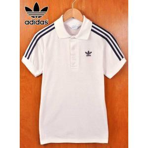ヴィンテージ 1980年代 adidas アディダス ショルダーライン ポロシャツ ホワイト×ネイビー メンズXS相当|penguintripper