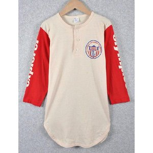【SALE】ビンテージ 1980年代 USA製 トリコタグ / Champion チャンピオン / ベースボールシャツ / クリーム×レッド / メンズS相当 penguintripper