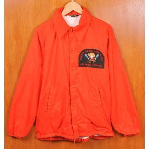 ヴィンテージ 1970年代 USA製 黒ランタグ CHAMPION チャンピオン ガンクラブワッペン付 ナイロンコーチジャケット オレンジ メンズS|penguintripper