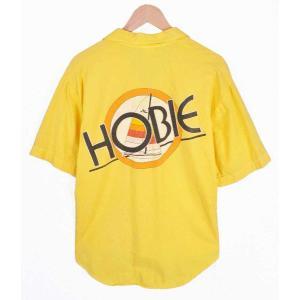 【SALE】ヴィンテージ 1980年代 USA製 / HOBIE ホビー / オールドサーフ 半袖シャツ / イエロー / メンズM penguintripper
