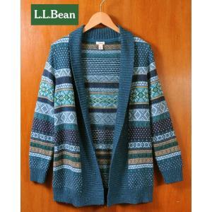 L.L.Bean エル・エル・ビーン 羽織型 ショールカラー コットン ニットカーディガン ノルディック柄 レディースS相当|penguintripper
