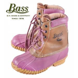 【SALE】ヴィンテージ 1980年代製 / BASS バス / ビーンブーツスタイル キッズ ハンティングブーツ / ピンク×ライトブラウン / JPN19.0cm penguintripper
