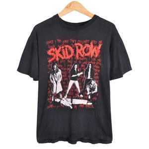【SALE】ヴィンテージ 90年製 スキッド・ロウ 90年 I SURVIVIED KIDROW LIVE 日本公演 バンドTシャツ ブラック M相当(6441|penguintripper