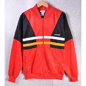 ヴィンテージ 1980年代後半〜90年代初期 / adidas アディダス / ジャージ / レッド×ブラック×ホワイト×イエロー / メンズL相当|penguintripper
