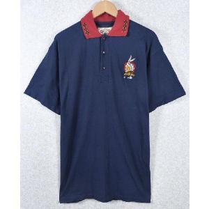 【SALE】ヴィンテージ 1995年製 / オーストラリア製 / WARNER BROS. ワーナーブラザーズ  / Bugs Bunny バッグス・バニー / ポロシャツ / ネイビー / メンズM|penguintripper