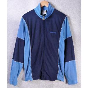 ヴィンテージ 1980年代 ウエストジャーマニー製 / adidas アディダス / ベロア ジャージ / ネイビー×ブルー / メンズM|penguintripper