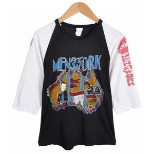【SALE】ヴィンテージ 1980年代 カナダ製 / MEN AT WORK メン アット ワーク / ラグランバンドTシャツ / ブラック×ホワイト / メンズXS相当 penguintripper