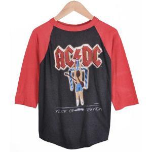 ヴィンテージ 1980年代 USA製 / AC/DC エーシー・ディーシー / FLICK OF THE SWITCH / ラグランバンドTシャツ / ブラック×レッド / メンズM相当 penguintripper