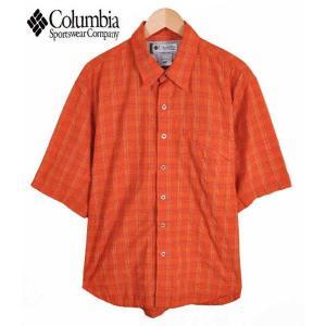 【SALE】Columbia コロンビア / TITANIUM タイタニウム / ワッシャー加工 アウトドア 半袖シャツ / オレンジ チェック柄 / メンズL相当 penguintripper