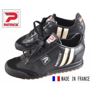 【SALE】ヴィンテージ フランス製 / PATRICK パトリック / LIVERPOOL リバプール / ブラック×ホワイト レザー / EUR35 JPN22.0cm相当|penguintripper