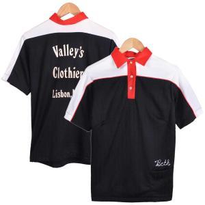 ヴィンテージ 1970年代 USA製 / Hilton ヒルトン / ボウリング ポロシャツ / ブラック×ホワイト×レッド / レディースM相当|penguintripper