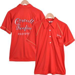 ヴィンテージ 1960年代 USA製 / LM ACTION WEAR / ボウリング ポロシャツ / チェーンステッチ 刺繍入り / レッド / メンズM|penguintripper