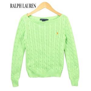 Ralph Lauren ラルフローレン ボートネック コットンニットセーター アランニットセーター ライトグリーン レディースS|penguintripper