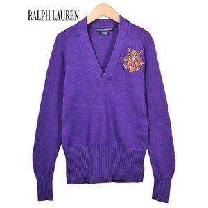Ralph Lauren SPORT ラルフローレン スポーツ Vネック コットンニットセーター パープル エンブレム刺繍 レディースM相当|penguintripper