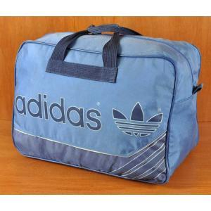 ヴィンテージ 1980年代 adidas アディダス ナイロン スポーツ ボストンバッグ ブルー×ネイビー(14798|penguintripper