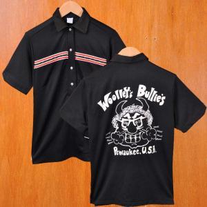 ヴィンテージ 1970年代 USA製 Hilton ヒルトン ボウリング ポロシャツ ボーリングポロシャツ ブラック レディースM相当|penguintripper