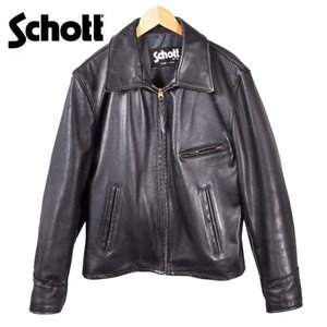 USA製 SCHOTT ショット 薄手 トラッカージャケット レザージャケット Lot:653 ブラック レザー ステアハイド 40 メンズM相当|penguintripper
