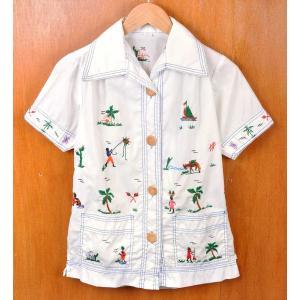 ヴィンテージ 1970年代 ハンドメイド系 刺繍入り 半袖シャツ ホワイト レディースS penguintripper
