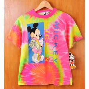 デッドストック ヴィンテージ 1980年代 USA製 DISNEY ディズニー MICKEY MOUSE ミッキーマウス 半袖Tシャツ 蛍光色 タイダイ柄 レディースL|penguintripper