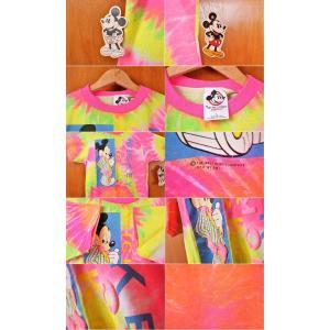 デッドストック ヴィンテージ 1980年代 USA製 DISNEY ディズニー MICKEY MOUSE ミッキーマウス 半袖Tシャツ 蛍光色 タイダイ柄 レディースL|penguintripper|03
