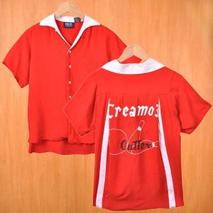 PROFILE VARSITY ボウリングシャツ ボーリングシャツ レッド×ホワイト レーヨン penguintripper