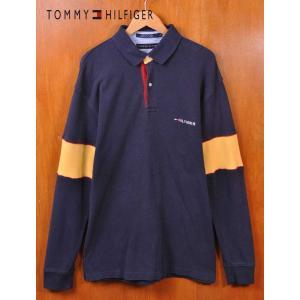 ヴィンテージ 90年代 トミーヒルフィガー 長袖 ポロシャツ ネイビー×イエロー 背中トミーロゴ 鹿の子素材 L(15496|penguintripper