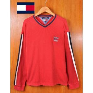 1990年代 TOMMY JEANS トミージーンズ TOMMY HILFIGER トミーヒルフィガー テレコ素材 長袖Tシャツ ロングスリーブTシャツ レッド 袖ライン メンズXL相当 penguintripper