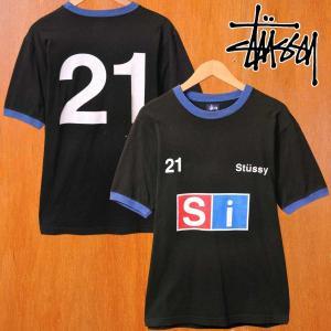 2001年 USA製 STUSSY ステューシー リンガー 半袖Tシャツ ブラック×ブルー ナンバリング メンズS|penguintripper