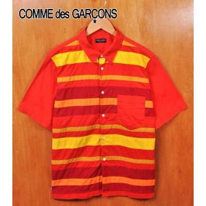 1999年 日本製 COMME des GARCONS HOMME PLUS コム・デ・ギャルソン オム プリュス フロント切り替えボーダー コットン 半袖シャツ ボーダー柄 メンズM相当 penguintripper