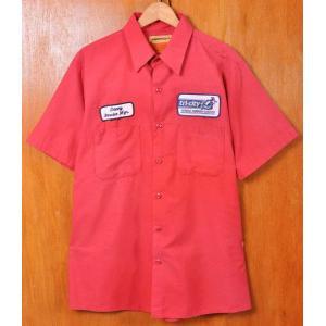 ヴィンテージ 1990年代 USA製 UniFirst ユニファースト 半袖ワークシャツ レッド メンズL penguintripper
