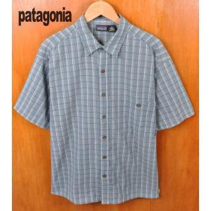 2002年製(SP2002) patagonia パタゴニア Puckerware Shirt パッカーウェアシャツ ワッシャー加工 半袖シャツ ブルーグレー系 チェック柄 penguintripper
