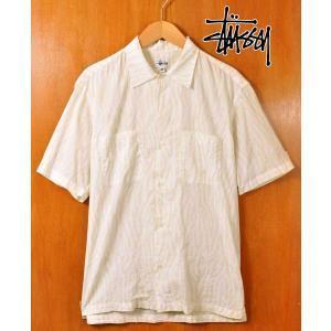 新品 USA製 OLD STUSSY オールド ステューシー 半袖シャツ ホワイト×極薄ライトグリーンゼブラ柄 メンズM|penguintripper