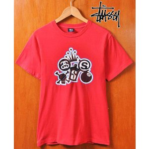00's USA製 STUSSY ステューシー 半袖Tシャツ レッド×人気モチーフ メンズS|penguintripper