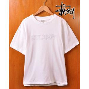 00's前期 USA製 STUSSY ステューシー 半袖Tシャツ ホワイト×キャド風ロゴ メンズM|penguintripper