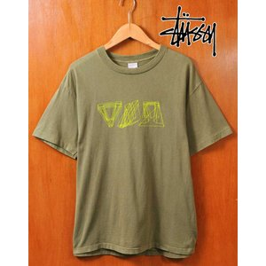00's前期 USA製 STUSSY ステューシー 半袖Tシャツ モスグリーン×グラフィック メンズL|penguintripper