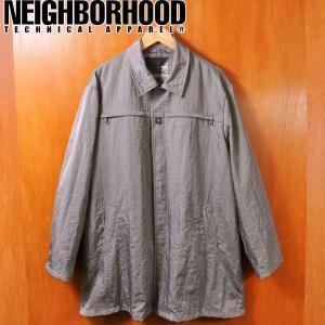 ヴィンテージ 1999年 Neighborhood ネイバーフッド シワ加工 ナイロンコート グレー メンズL penguintripper