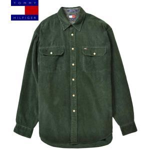 ビッグサイズ TOMMY HILFIGER トミーヒルフィガー コーデュロイ 長袖シャツ ダークグリーン 2XL相当|penguintripper
